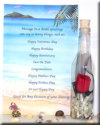 MESSAGE BOTTLE SINGLE RED ROSE