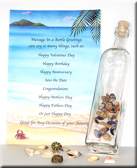 sand and sea shells - Message In A Bottle Wedding Invitations